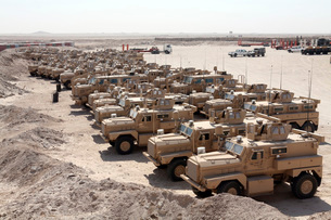 Mine Resistant Ambush Protected vehicles at Camp Taqaddum, Iの写真素材 [FYI02099634]