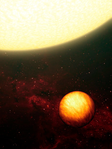 A Jupiter-like planet soaking up the scorching rays of its nの写真素材 [FYI02099660]