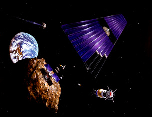 An asteroid mining mission to an Earth-approaching asteroid.の写真素材 [FYI02099668]