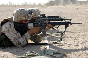 Marine fires their M16A2 service rifles.の写真素材 [FYI02099685]