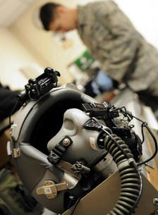 A fully assembled flight crew helmetの写真素材 [FYI02099751]