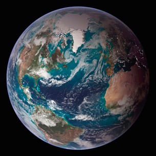 A full view of Earth showing global data for land surface, pの写真素材 [FYI02099812]