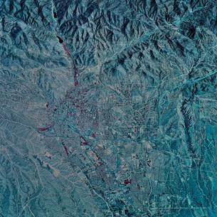 Satellite view of Santa Fe, New Mexico.の写真素材 [FYI02099815]