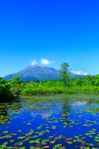 いもり池と黒姫山の写真素材 [FYI02099817]