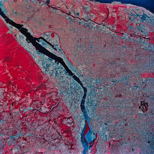 Satellite view of Portland, Oregon.の写真素材 [FYI02099922]