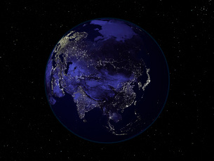 Full Earth at night showing city lights centered on Asia.の写真素材 [FYI02099946]