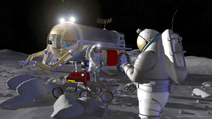 Artist's rendering of future space exploration missions.の写真素材 [FYI02100009]