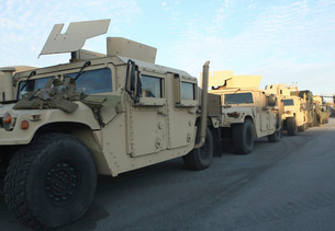 Humvees sit on the pier at Morehead City, North Carolina, awの写真素材 [FYI02100012]