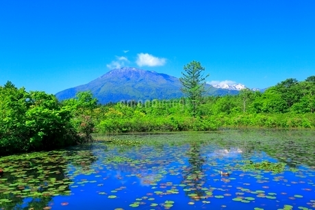 いもり池と黒姫山の写真素材 [FYI02100015]