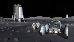 Artist's rendering of future space exploration missions.の写真素材 [FYI02100051]
