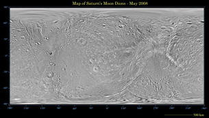 Global map of Saturn's moon Dione.の写真素材 [FYI02100090]