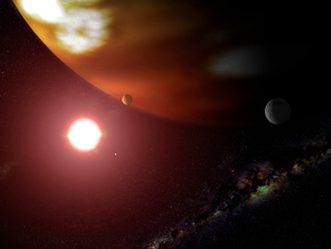 A gas giant planet orbiting a red dwarf star.の写真素材 [FYI02100218]