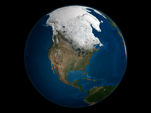 A global view over North America with Arctic sea iceの写真素材 [FYI02100227]