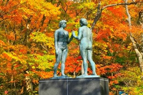 十和田湖の紅葉と乙女の像の写真素材 [FYI02100300]