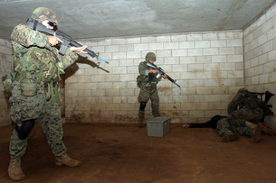Marines hold an SASO instructor down while checking him to sの写真素材 [FYI02100435]