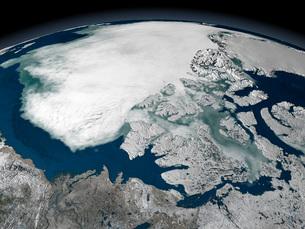 Arctic sea ice above North Americaの写真素材 [FYI02100461]