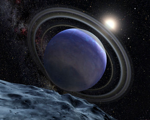 Artist's illustration of an Extrasolar Planet Orbiting Starの写真素材 [FYI02100523]
