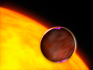 A close-up of an extrasolar planet passing in front of a Sunの写真素材 [FYI02100529]