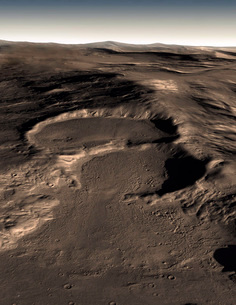 Three craters in the eastern Hellas region of Mars.の写真素材 [FYI02100530]