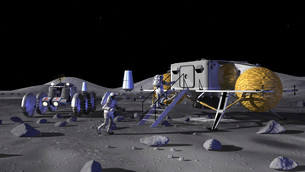 Artist's rendering of future space exploration missions.の写真素材 [FYI02100611]