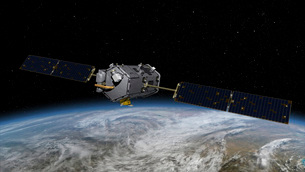 An artist's concept of the Orbiting Carbon Observatory.の写真素材 [FYI02100613]