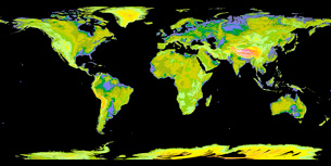 Digital elevation model of the continents on Earth.の写真素材 [FYI02100711]
