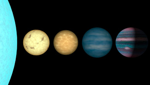 An artist's rendition comparing brown dwarfs to stars and plの写真素材 [FYI02100713]