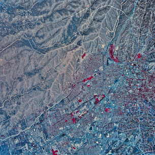 Satellite view of Santa Fe, New Mexico.の写真素材 [FYI02100806]