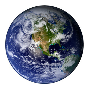 Full Earth showing North America (white background).の写真素材 [FYI02100814]