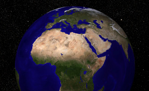 Global view of Earth over North Africa, Europe, the Middle Eの写真素材 [FYI02100974]