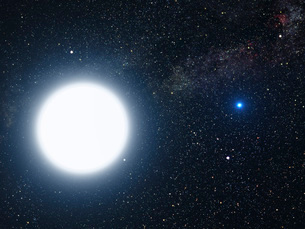 Artist's concept showing the binary star system of Sirius Aの写真素材 [FYI02100983]