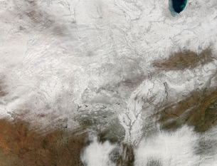 Satellite view of a severe winter storm over the midwesternの写真素材 [FYI02100989]
