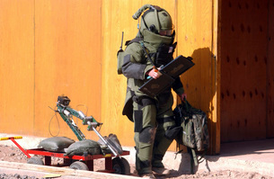 A technician from a Navy Explosive Ordnance Disposal Mobileの写真素材 [FYI02101007]