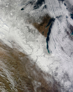 Satellite view of snow and cold across the Midwestern Unitedの写真素材 [FYI02101079]