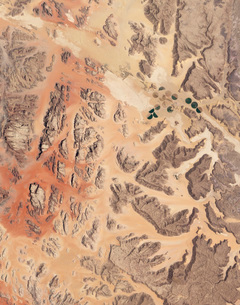 Satellite view of Wadi Rum in southwestern Jordan.の写真素材 [FYI02101123]