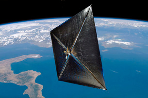 Artist concept of NanoSail-D in space.の写真素材 [FYI02101139]