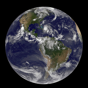 August 24, 2011 - Satellite view of the Full Earth with Hurrの写真素材 [FYI02101154]
