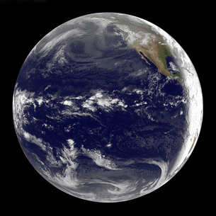 Satellite view of Earth centered over the Pacific Ocean.の写真素材 [FYI02101194]