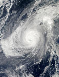 Typhoon Nida south-southwest of Iwo Jima.の写真素材 [FYI02101256]