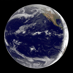 Satellite image of Earth centered over the Pacific Ocean.の写真素材 [FYI02101326]