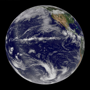 Satellite image of Earth centered over the Pacific Ocean.の写真素材 [FYI02101397]