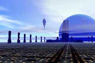 Futuristic city on a planet at the edge of the Milky Way.の写真素材 [FYI02101548]