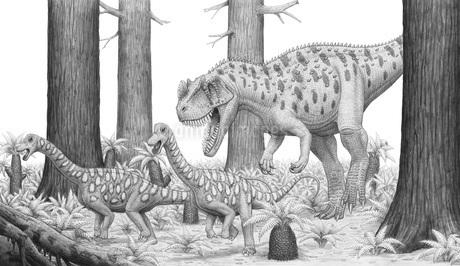 A Ceratosaurus chasing young Apatosaurus dinosaurs.のイラスト素材 [FYI02102003]