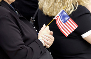 Americans celebrate Flag Day.の写真素材 [FYI02102411]