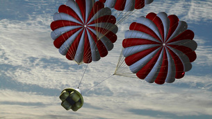 Concept of the second stage recovery parachutes opening as aのイラスト素材 [FYI02102438]