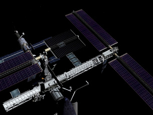 A graphic rendering of the International Space Station.のイラスト素材 [FYI02102466]