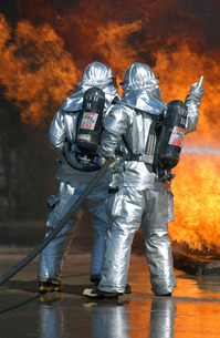 A firefighter fights a fire during a readiness training exerの写真素材 [FYI02102539]