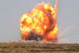 A controlled detonation is set off to destroy unexploded ordの写真素材 [FYI02102753]