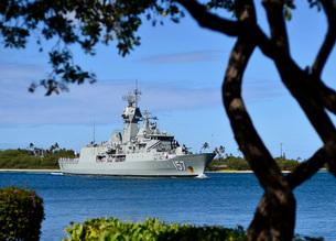 The Royal Australian Navy Anzac-class frigate HMAS Perth.の写真素材 [FYI02102756]