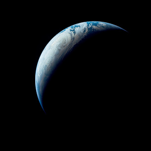 Crescent Earth taken from the Apollo 4 mission.の写真素材 [FYI02102878]